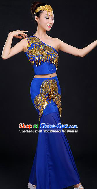 Traditional Chinese Dai Nationality Peacock Dancing Costume, Folk Dance Ethnic Paillette Dress, Chinese Minority Nationality Classic Dance Royalblue Costume for Women