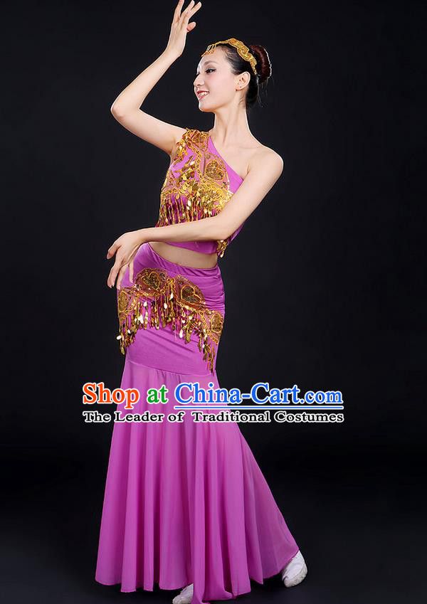 Traditional Chinese Dai Nationality Peacock Dancing Costume, Folk Dance Ethnic Paillette Dress, Chinese Minority Nationality Classic Dance Purple Costume for Women