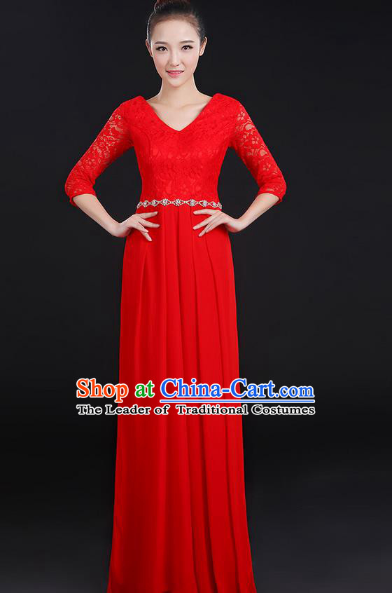 Traditional Chinese Modern Dancing Costume, Women Opening Classic Chorus Singing Group Dance Lace Clothing, Modern Dance Long Red Dress for Women