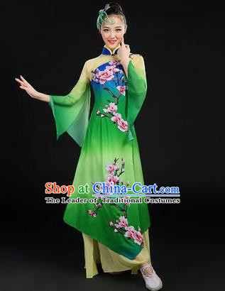 Traditional Chinese Yangge Fan Dancing Costume, Opening Dance Costume, Classic Dance Folk Dance Yangko Costume Drum Dance Green Peach Blossom Clothing for Women