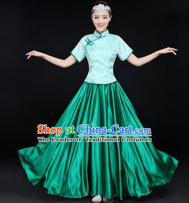 Traditional Chinese Yangge Fan Dancing Costume, Opening Dance Costume, Classic Dance Folk Dance Yangko Costume Drum Dance Green Satin Clothing for Women