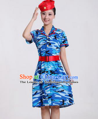 Traditional Chinese Modern Dancing Costume, Women Opening Classic Chorus Singing Group Dance Costume, Modern Dance Camouflage Blue Dress for Women