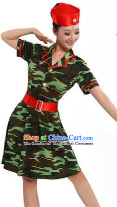 Traditional Chinese Modern Dancing Costume, Women Opening Classic Chorus Singing Group Dance Costume, Modern Dance Camouflage Green Dress for Women