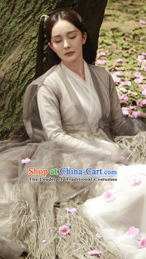 Traditional Chinese Ancient Han Dynasty Fairy Costume, Hanfu Imperial Princess Goddess Dress, China Cosplay Palace Princess Tailing Elegant Clothing for Women