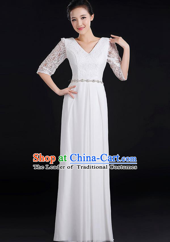 Traditional Chinese Modern Dancing Costume, Women Opening Classic Chorus Singing Group Dance Lace Clothing, Modern Dance Long White Dress for Women