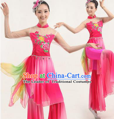 Traditional Chinese Yangge Fan Dancing Costume, Classic Dance Folk Dance Yangko Costume Drum Dance Pink Clothing for Women