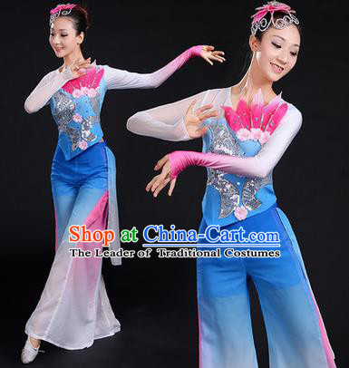 Traditional Chinese Yangge Fan Dancing Costume, Folk Dance Yangko Paillette Uniforms, Classic Lotus Dance Dress Drum Dance Blue Clothing for Women
