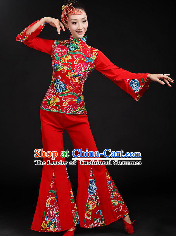 Traditional Chinese Yangge Fan Dancing Costume, Folk Dance Yangko Peony Uniforms, Classic Dance Dress Drum Dance Red Clothing for Women