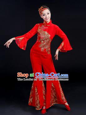 Traditional Chinese Yangge Fan Dancing Costume, Folk Dance Yangko Paillette Phoenix Uniforms, Classic Dance Dress Drum Dance Red Clothing for Women