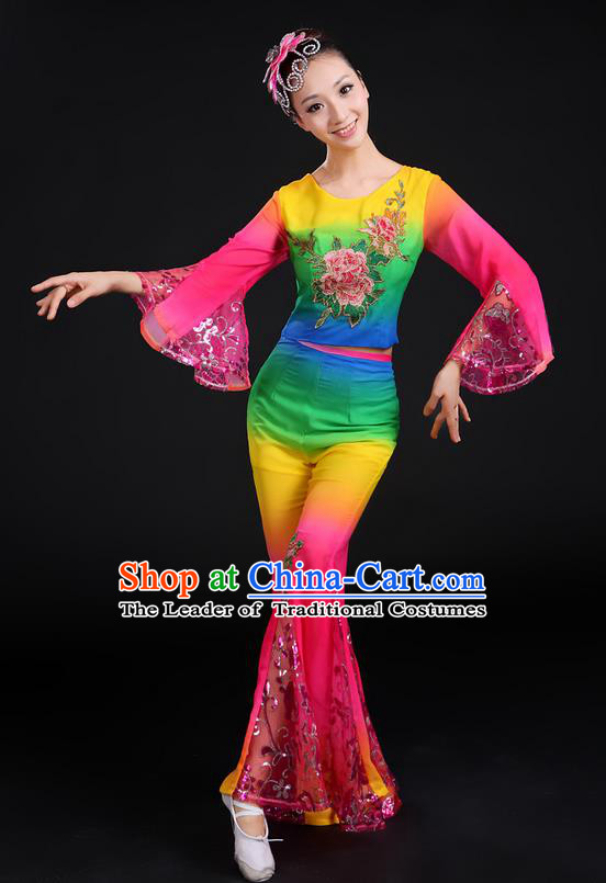 Traditional Chinese Yangge Fan Dancing Costume, Folk Dance Yangko Gradient Paillette Peony Uniforms, Classic Dance Dress Drum Dance Clothing for Women