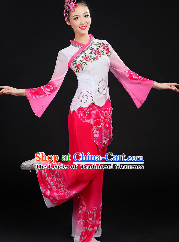 Traditional Chinese Yangge Fan Dancing Costume, Folk Dance Yangko Blue and White Porcelain Uniforms, Classic Dance Cheongsam Dress Drum Dance Pink Clothing for Women