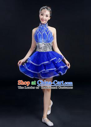 Traditional Modern Dancing Costume, Women Opening Classic Chorus Singing Group Dance Bubble Uniforms, Modern Dance Short Paillette Dress for Women