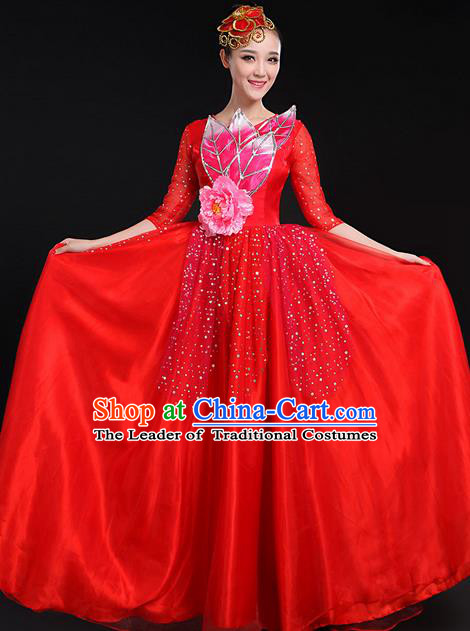 Traditional Modern Dancing Costume, Women Opening Classic Chorus Singing Group Dance Bubble Uniforms, Modern Dance Long Paillette Peony Red Dress for Women