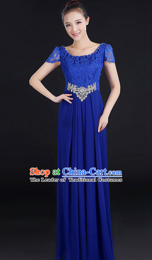 Traditional Modern Dancing Compere Costume, Women Opening Classic Chorus Singing Group Dance Uniforms, Modern Dance Lace Long Royalblue Dress for Women