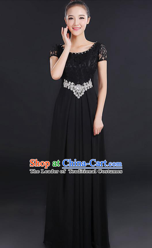 Traditional Modern Dancing Compere Costume, Women Opening Classic Chorus Singing Group Dance Uniforms, Modern Dance Lace Long Black Dress for Women