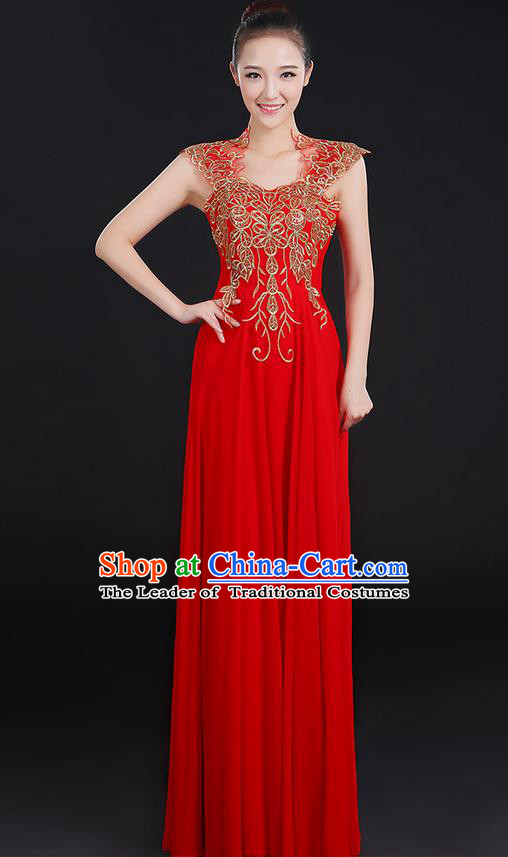 Traditional Modern Dancing Compere Costume, Women Opening Classic Chorus Singing Group Dance Uniforms, Modern Dance Paillette Long Red Dress for Women