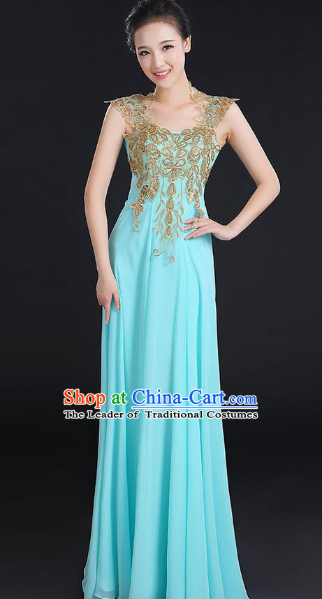 Traditional Modern Dancing Compere Costume, Women Opening Classic Chorus Singing Group Dance Uniforms, Modern Dance Paillette Long Blue Dress for Women