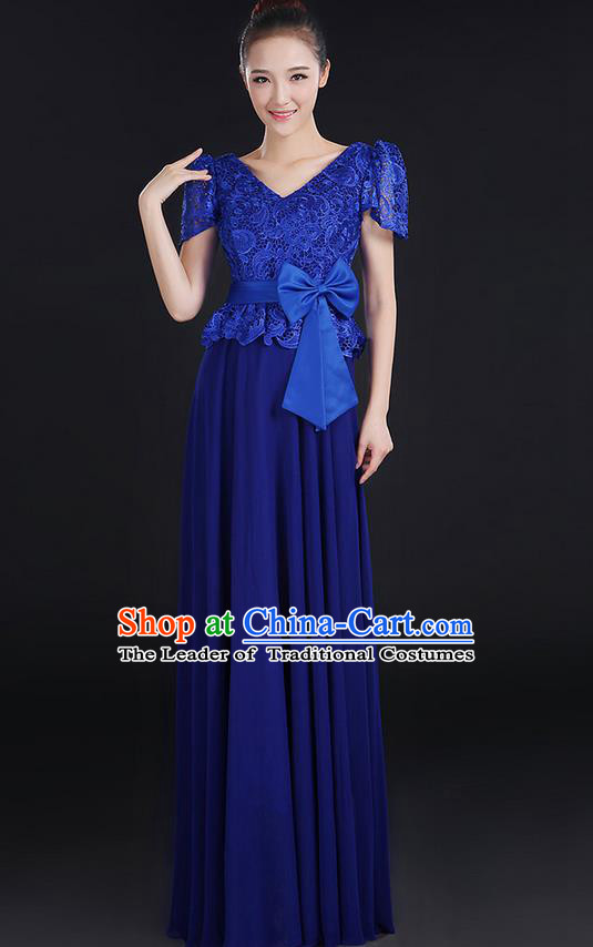 Traditional Modern Dancing Compere Costume, Women Opening Classic Chorus Singing Group Dance Bowknot Uniforms, Modern Dance Lace Long Royalblue Dress for Women