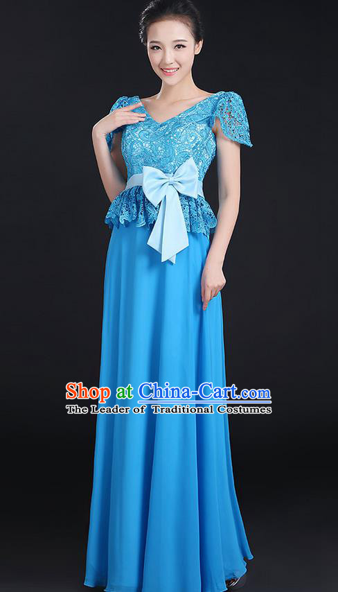 Traditional Modern Dancing Compere Costume, Women Opening Classic Chorus Singing Group Dance Bowknot Uniforms, Modern Dance Lace Long Blue Dress for Women