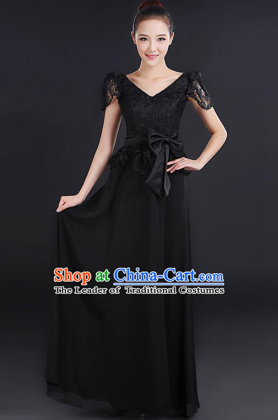 Traditional Modern Dancing Compere Costume, Women Opening Classic Chorus Singing Group Dance Bowknot Uniforms, Modern Dance Lace Long Black Dress for Women