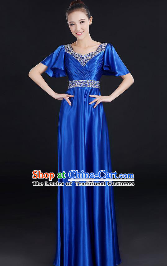 Traditional Chinese Modern Dancing Compere Costume, Women Opening Classic Chorus Singing Group Dance Uniforms, Modern Dance Crystal Long Royalblue Dress for Women