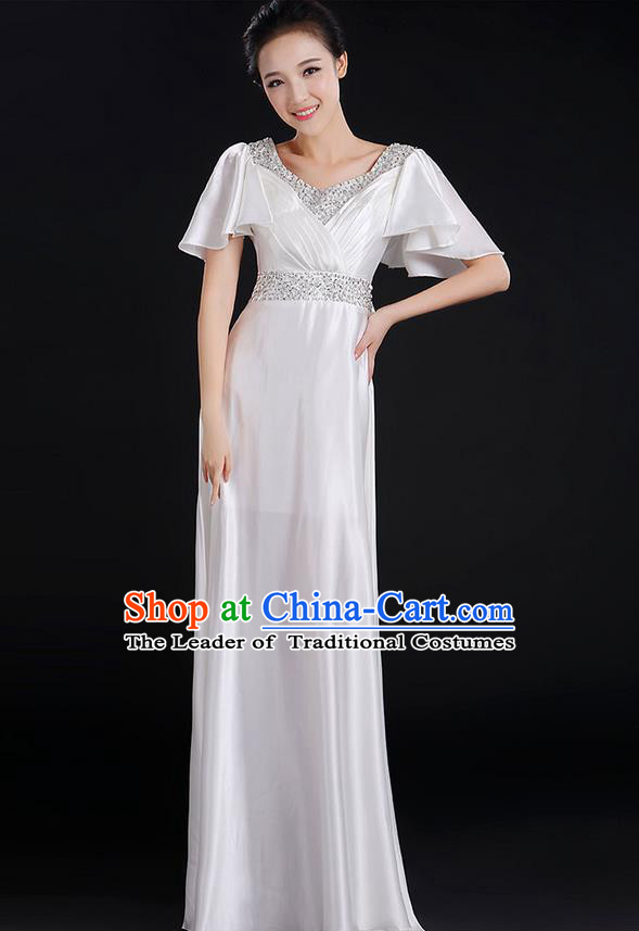 Traditional Chinese Modern Dancing Compere Costume, Women Opening Classic Chorus Singing Group Dance Uniforms, Modern Dance Crystal Long White Dress for Women