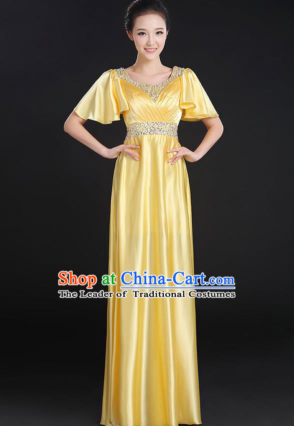 Traditional Chinese Modern Dancing Compere Costume, Women Opening Classic Chorus Singing Group Dance Uniforms, Modern Dance Crystal Long Yellow Dress for Women