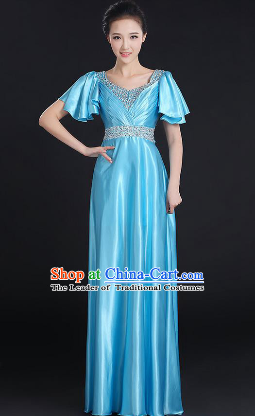 Traditional Chinese Modern Dancing Compere Costume, Women Opening Classic Chorus Singing Group Dance Uniforms, Modern Dance Crystal Long Blue Dress for Women