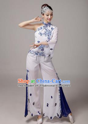 Traditional Chinese Yangge Fan Dancing Costume, Folk Dance Yangko Blue and White Porcelain Uniforms, Classic Dance Dress Drum Dance White Clothing for Women