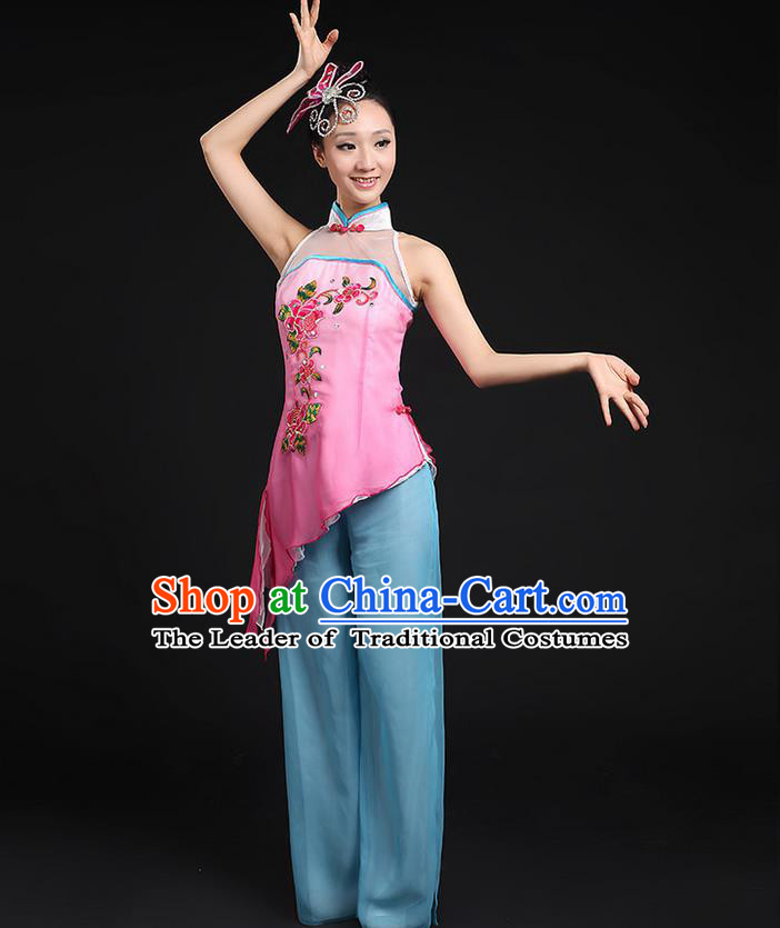 Traditional Chinese Yangge Fan Dancing Costume, Folk Dance Yangko Stand Collar Uniforms, Classic Dance Dress Drum Dance Embroidered Clothing for Women