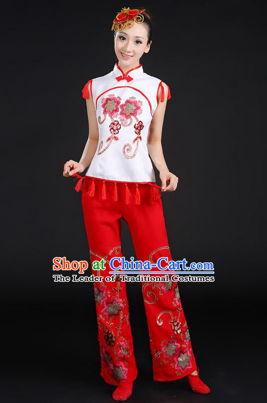 Traditional Chinese Yangge Fan Dancing Costume, Folk Dance Yangko Stand Collar Uniforms, Classic Dance Dress Drum Dance Paillette Clothing for Women