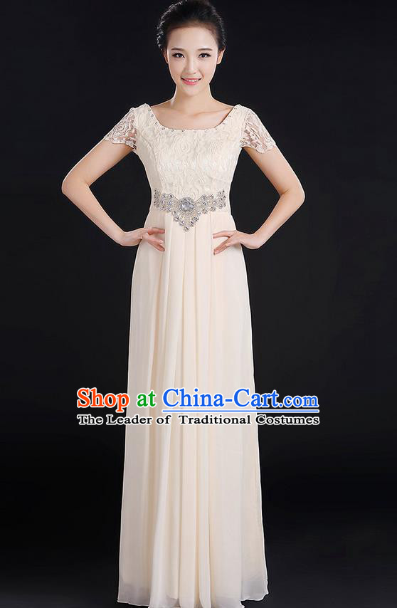 Traditional Modern Dancing Compere Costume, Women Opening Classic Chorus Singing Group Dance Uniforms, Modern Dance Lace Long Champagne Dress for Women