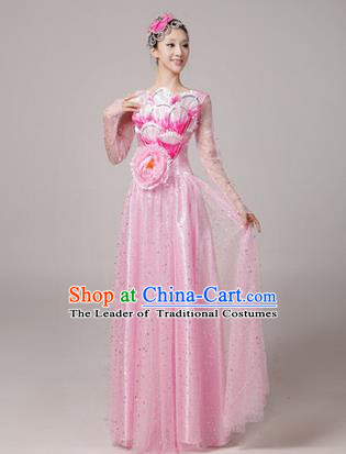 Traditional Chinese Modern Dancing Compere Costume, Women Opening Classic Chorus Singing Group Dance Uniforms, Modern Dance Long Peony Pink Dress for Women
