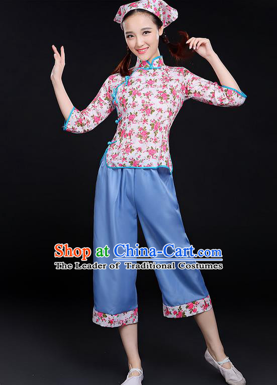 Traditional Chinese Yangge Fan Dancing Costume, Folk Dance Yangko Tea-Picking Uniforms, Classic Dance Elegant Dress Drum Dance Pink Clothing for Women