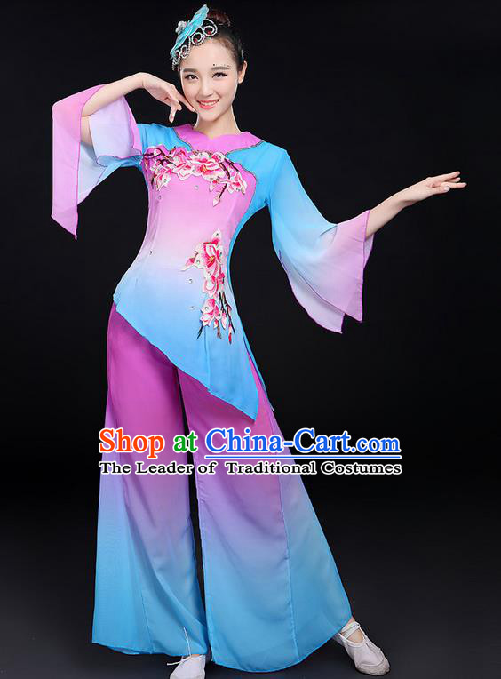 Traditional Chinese Yangge Fan Dancing Costume, Folk Dance Yangko Umbrella Dance Uniforms, Classic Dance Elegant Dress Drum Dance Red Clothing for Women