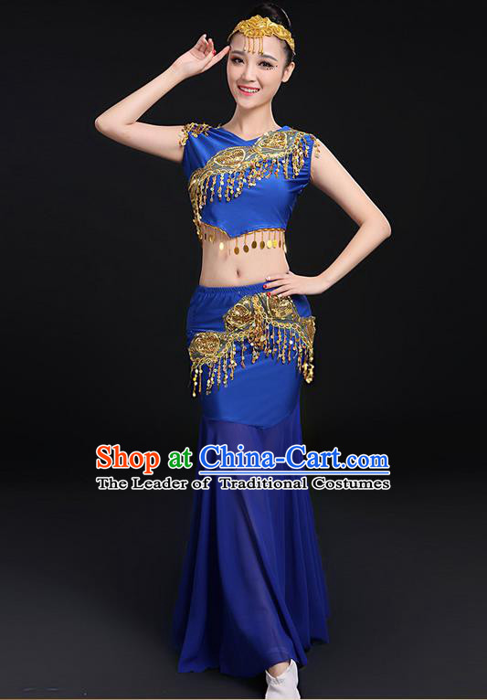Traditional Chinese Dai Nationality Peacock Dancing Costume, Folk Dance Ethnic Paillette Fishtail Dress Uniform, Chinese Minority Nationality Dancing Royalblue Clothing for Women