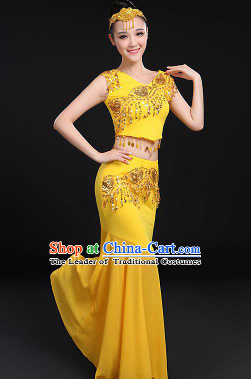 Traditional Chinese Dai Nationality Peacock Dancing Costume, Folk Dance Ethnic Paillette Fishtail Dress Uniform, Chinese Minority Nationality Dancing Gold Clothing for Women