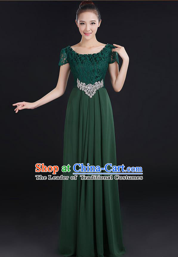 Traditional Modern Dancing Compere Costume, Women Opening Classic Chorus Singing Group Dance Uniforms, Modern Dance Lace Long Atrovirens Dress for Women