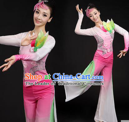 Traditional Chinese Yangge Fan Dancing Costume, Folk Dance Yangko Uniforms, Classic Dance Elegant Dress Drum Dance Paillette Lotus Pink Clothing for Women