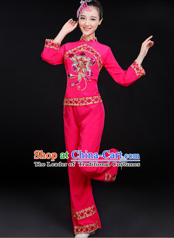 Traditional Chinese Yangge Fan Dancing Costume, Folk Dance Yangko Uniforms, Classic Dance Elegant Dress Drum Dance Paillette Peony Rose Clothing for Women