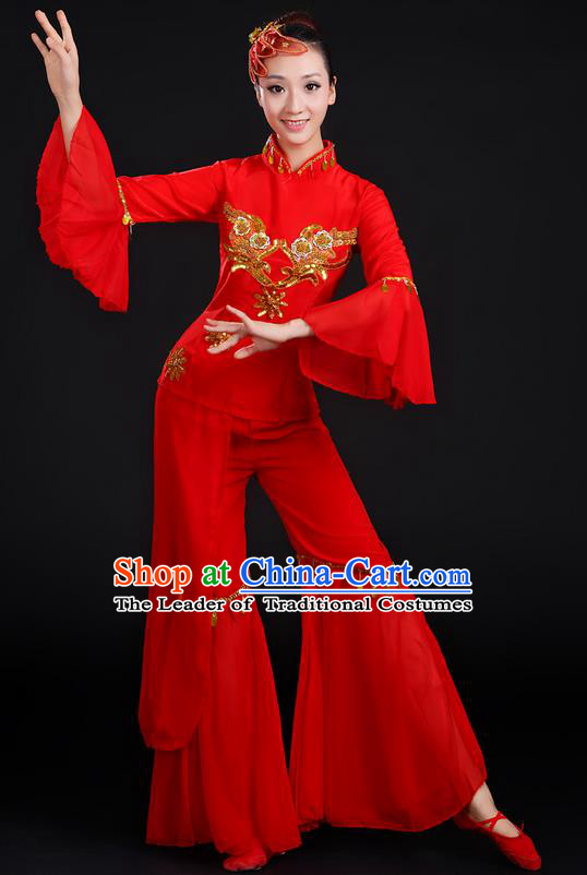 Traditional Chinese Yangge Fan Dancing Costume, Folk Dance Yangko Uniforms, Classic Dance Elegant Dress Drum Dance Paillette Red Clothing for Women
