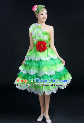Traditional Chinese Modern Dancing Compere Costume, Women Opening Classic Chorus Singing Group Dance Big Swing Uniforms, Modern Dance Peony Bubble Dress for Women