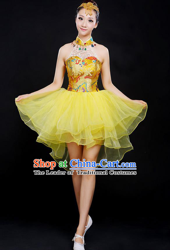 Traditional Chinese Modern Dancing Compere Costume, Women Opening Classic Chorus Singing Group Dance Dragon Uniforms, Modern Dance Classic Dance Yellow Cheongsam Dress for Women