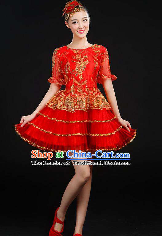 Traditional Chinese Modern Dancing Compere Costume, Women Opening Classic Chorus Singing Group Dance Uniforms, Modern Dance Classic Dance Paillette Bubble Dress for Women