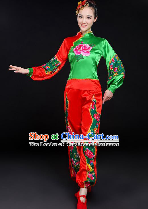 Traditional Chinese Yangge Fan Dancing Costume, Folk Dance Yangko Embroidered Uniforms, Classic Dance Elegant Dress Drum Dance Clothing for Women
