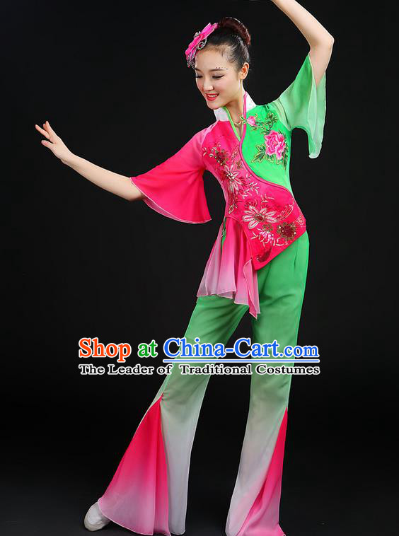 Traditional Chinese Yangge Fan Dancing Costume, Folk Dance Yangko Embroidered Peony Uniforms, Classic Dance Elegant Dress Drum Dance Clothing for Women