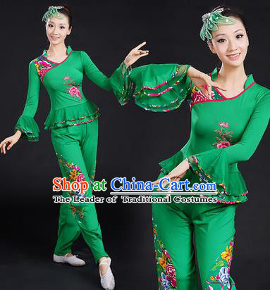Traditional Chinese Yangge Fan Dancing Costume, Folk Dance Yangko Embroidered Peony Uniforms, Classic Umbrella Dance Elegant Dress Drum Dance Green Clothing for Women