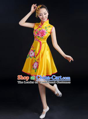 Traditional Chinese Yangge Fan Dancing Costume, Folk Dance Yangko Peony Uniforms, Classic Umbrella Dance Elegant Dress Drum Dance Yellow Cheongsam Clothing for Women