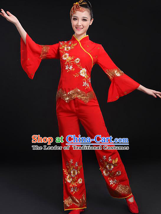 Traditional Chinese Yangge Fan Dancing Costume, Folk Dance Yangko Uniforms, Classic Umbrella Dance Elegant Dress Drum Dance Red Paillette Flowers Clothing for Women