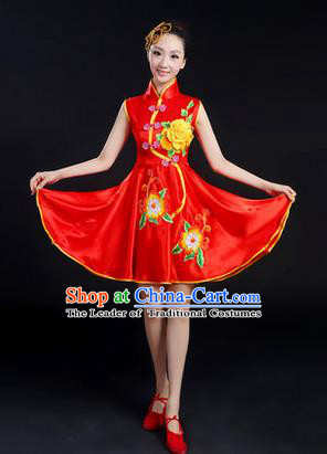 Traditional Chinese Yangge Fan Dancing Costume, Folk Dance Yangko Peony Uniforms, Classic Umbrella Dance Elegant Dress Drum Dance Red Cheongsam Clothing for Women